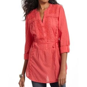 Anthro Leifnotes Popover Blouse Coral Swiss Dot 4